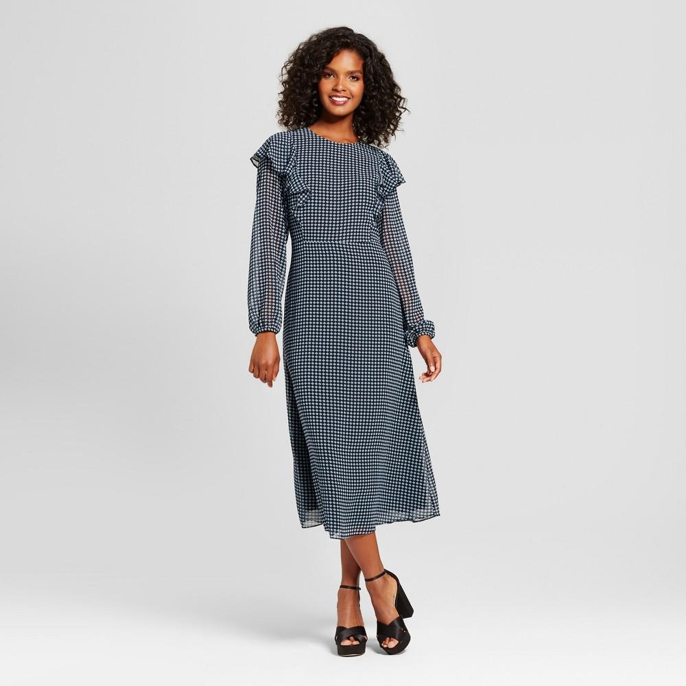 Womens Flutter Shoulder Dress- Who What Wear Blue Pajama Print S