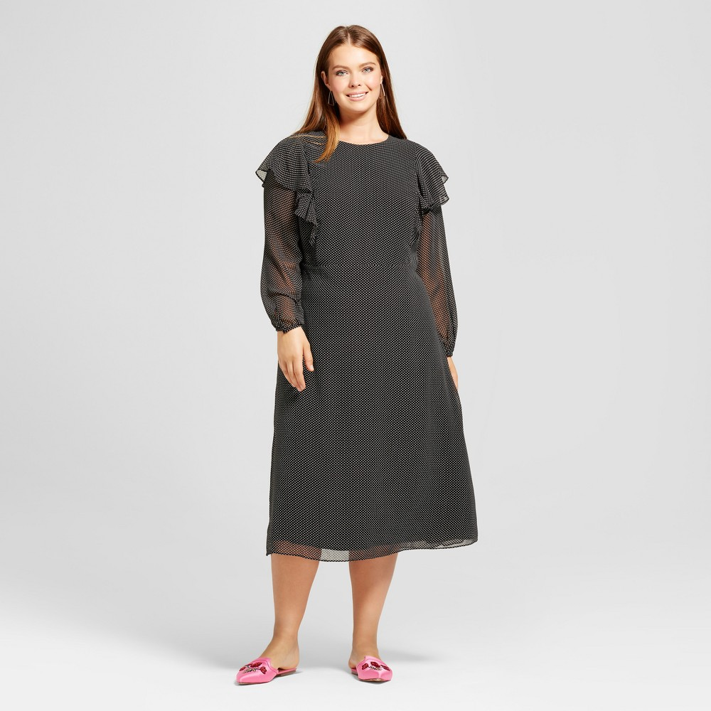 Womens Plus Size Flutter Shoulder Dress - Who What Wear Burgundy Polka Dot 2X