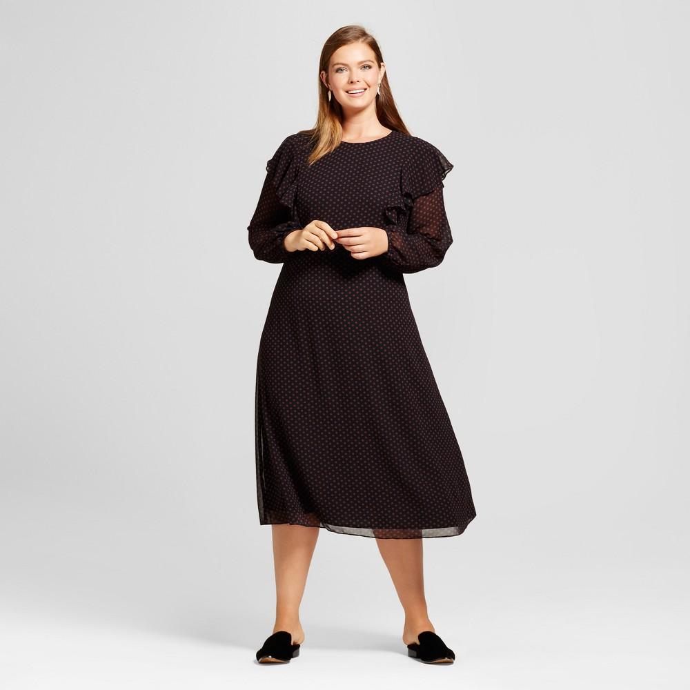 Womens Plus Size Flutter Shoulder Dress - Who What Wear Black/White Polka Dot 4X