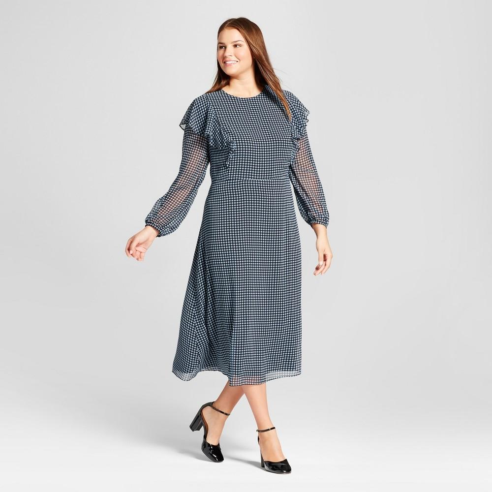 Womens Plus Size Flutter Shoulder Dress - Who What Wear Blue Pajama Print 1X