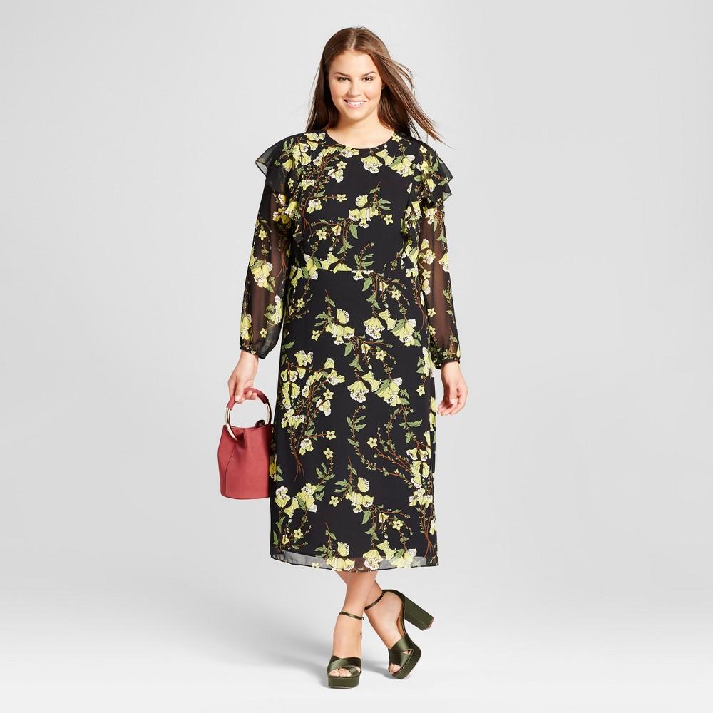 Womens Plus Size Flutter Shoulder Dress - Who What Wear Black Floral 1X
