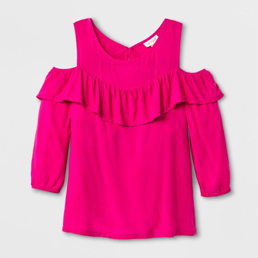 Girls Long Sleeve Cold Shoulder Top - Cat & Jack Pink XL