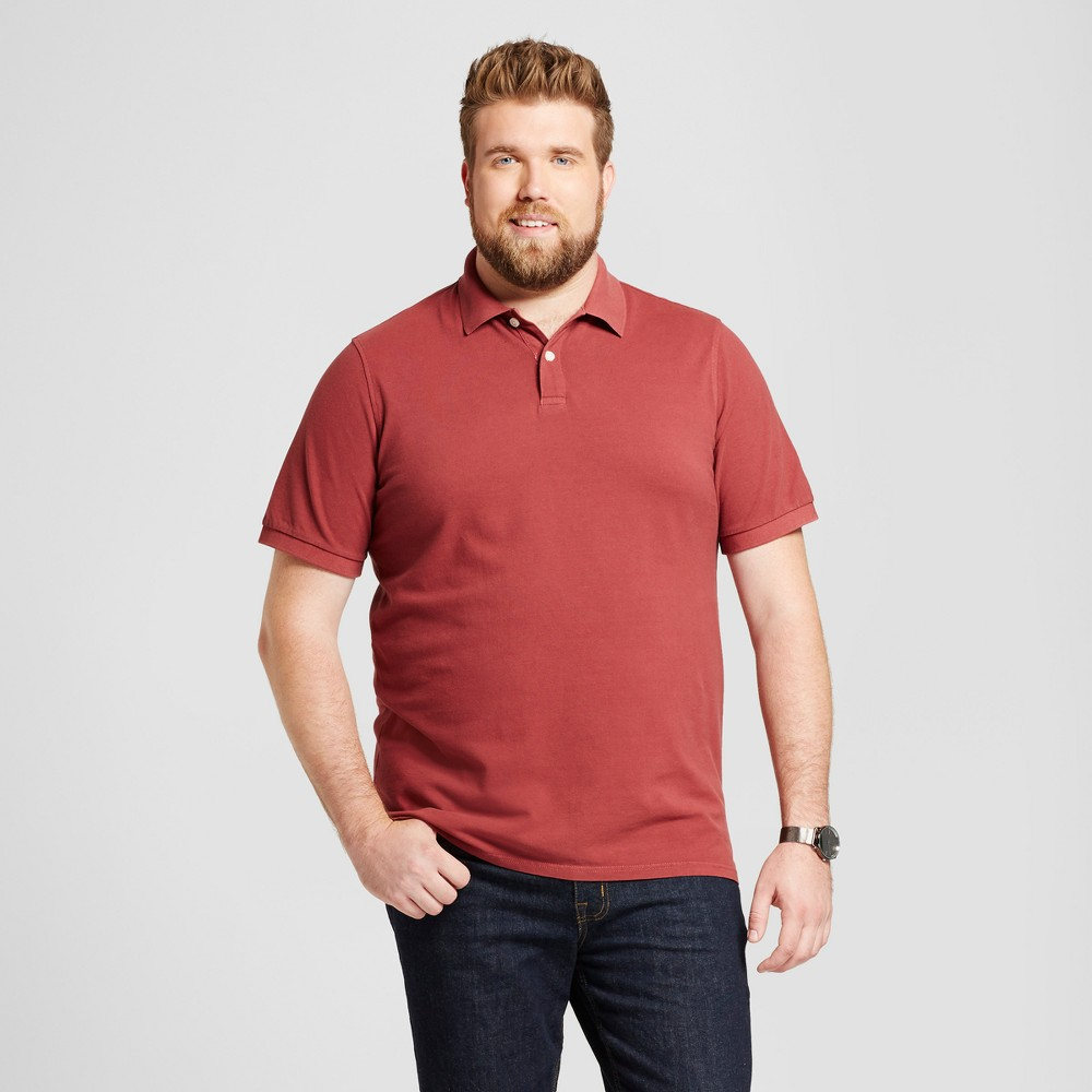 Mens Big & Tall Standard Fit Loring Polo Short Sleeve Collared Shirt - Goodfellow & Co Burgundy (Red) 5XBT