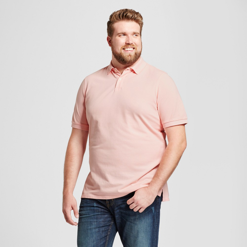 Mens Big & Tall Standard Fit Loring Polo Short Sleeve Collared Shirt - Goodfellow & Co Pink 2XB