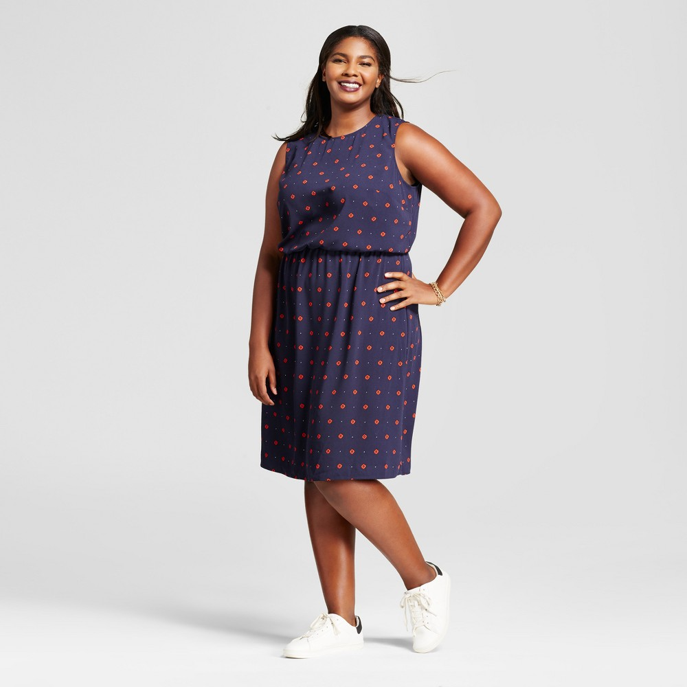 Womens Plus Size Floral Crepe Tank Dress - A New Day Navy 3X, Blue