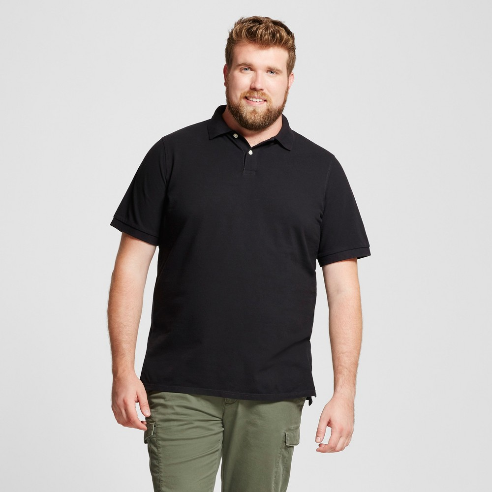 Mens Big & Tall Standard Fit Loring Polo Short Sleeve Collared Shirt - Goodfellow & Co Charcoal (Grey) Xlt