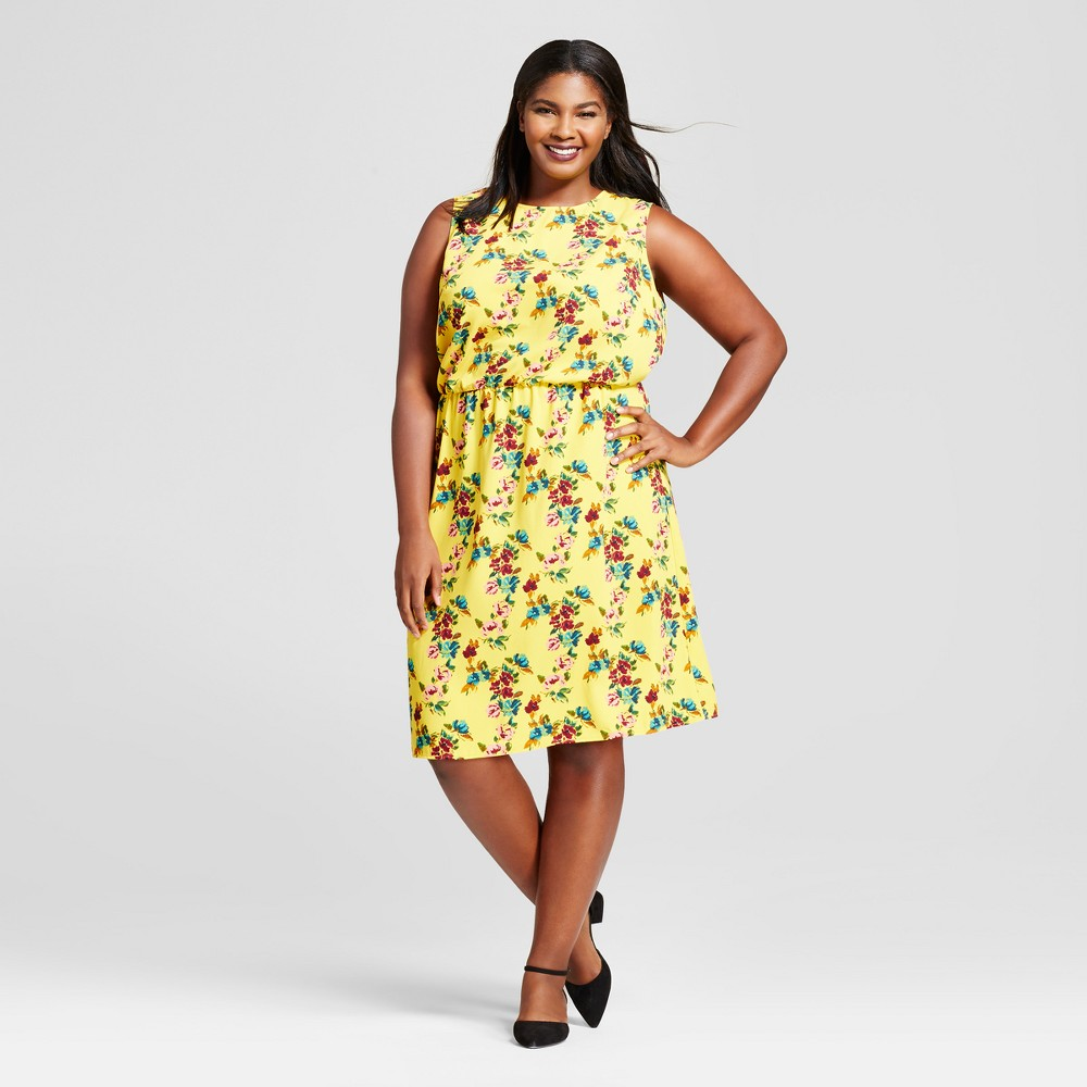 Womens Plus Size Floral Crepe Tank Dress - A New Day Gold 3X, Purple