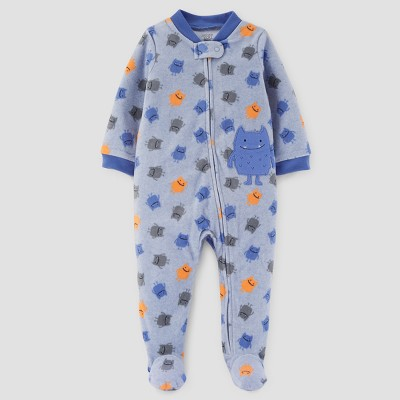Baby Boys' Monsters Fleece Sleep N' Play - Just One You™ Made by Carter's® Blue 9M