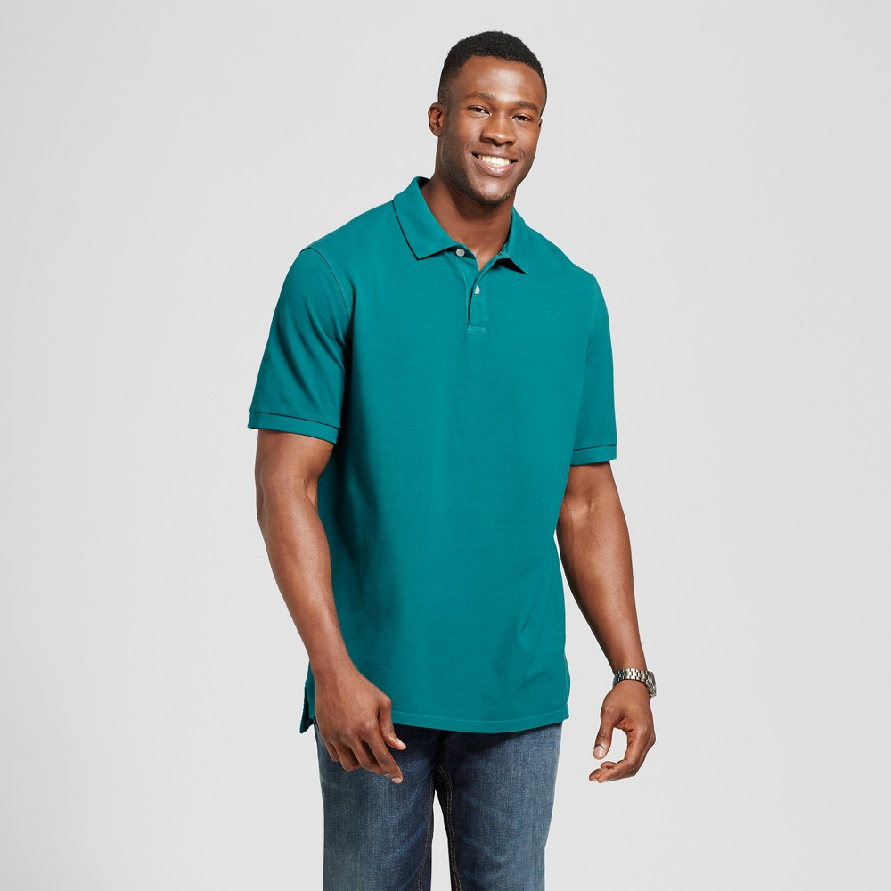Mens Big & Tall Standard Fit Loring Polo Short Sleeve Collared Shirt - Goodfellow & Co Teal (Blue) LT