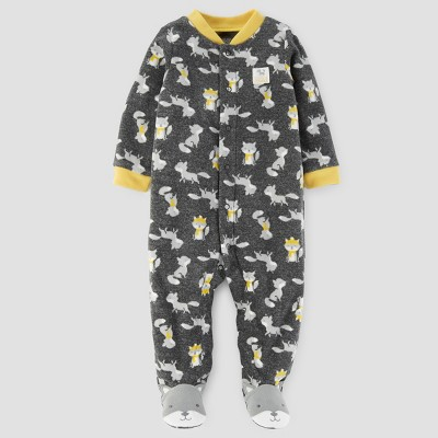 Baby Boys' Fox Print Fleece Sleep N' Play - Just One You™ Made by Carter's® Gray NB