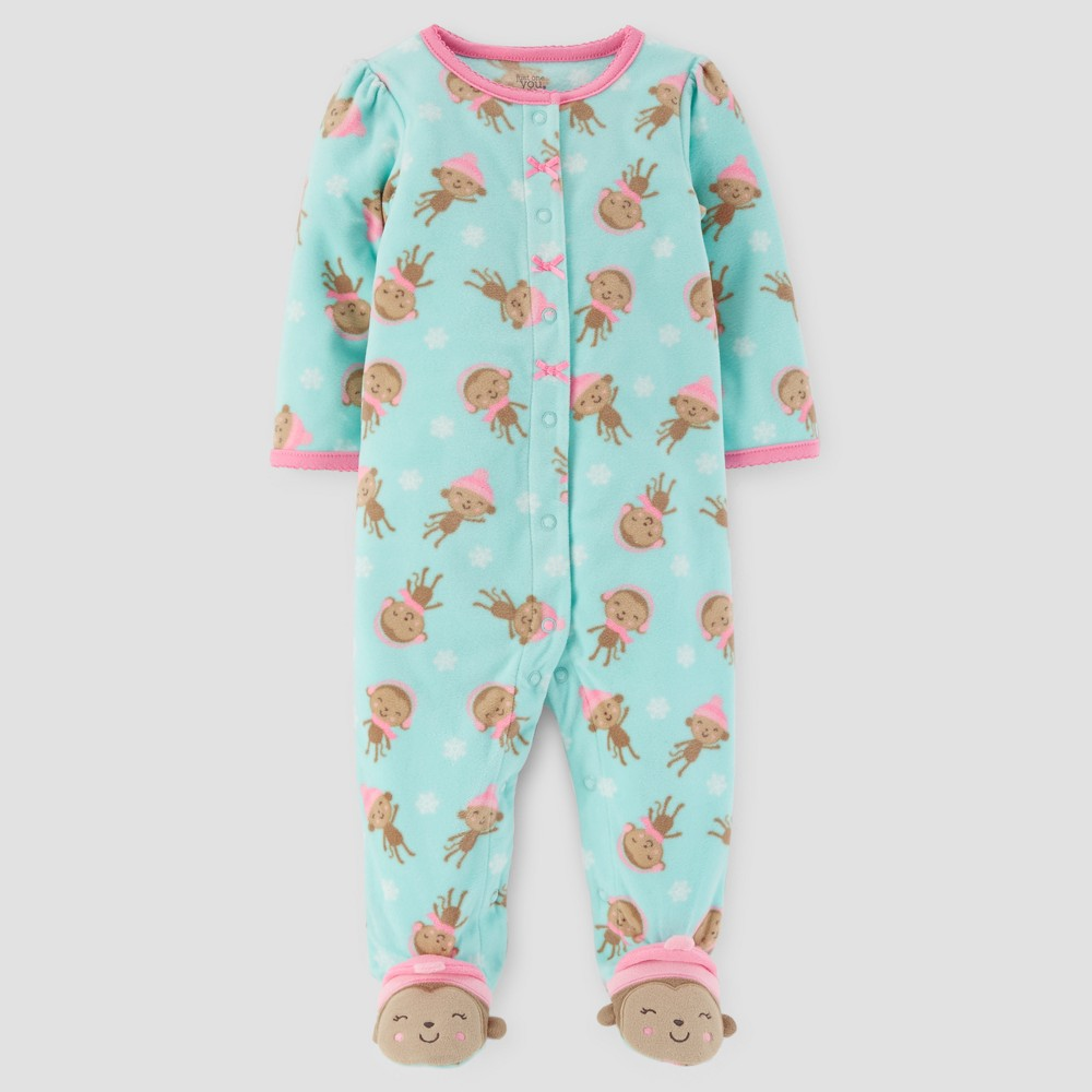 Baby Girls Monkey Print Fleece Sleep N Play - Just One You Made by Carters Green 3M