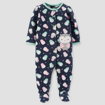 Baby Girls' Owls Fleece Sleep N' Play - Just One You™ Made by Carter's® Navy NB
