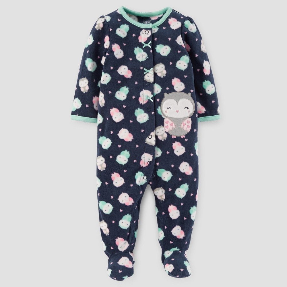 Baby Girls Owls Fleece Sleep N Play - Just One You Made by Carters Navy NB, Blue