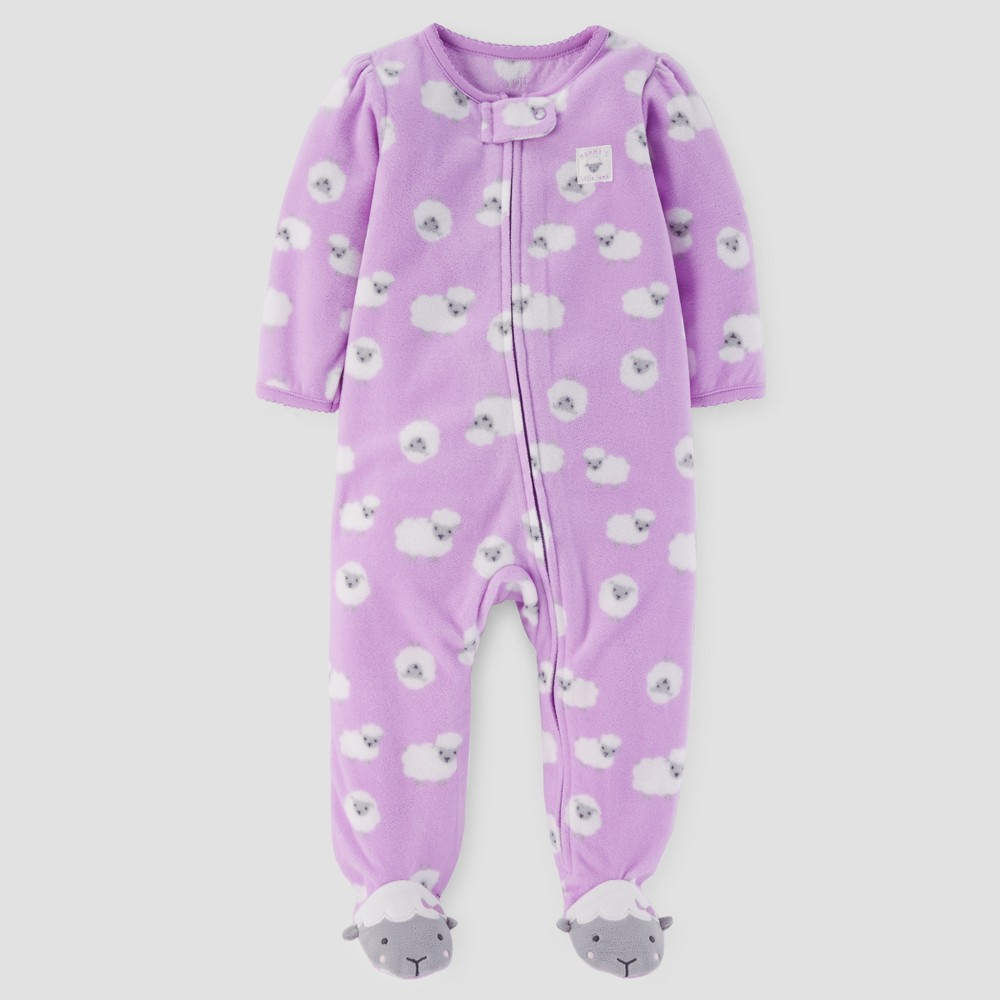 Baby Girls' Sheep Fleece Sleep N' Play - Just One You Made by Carter's Purple 9M