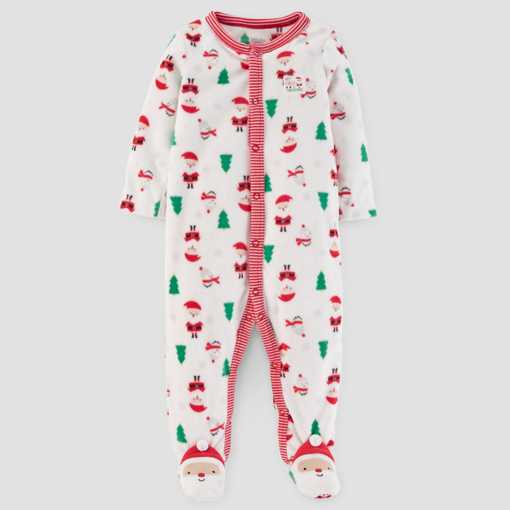 Babys Christmas Print Fleece Sleep N Play - Just One You Made by Carters Cream 6M, Infant Unisex, White