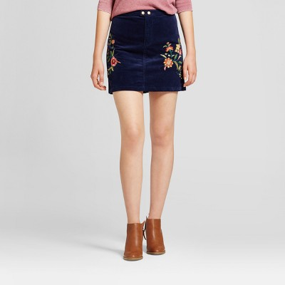 view Women's Embroidered Corduroy Skirt - Mossimo Supply Co. Navy on target.com. Opens in a new tab.