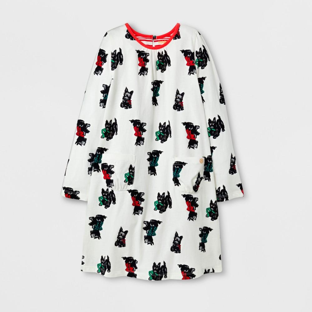 Happy by Pink Chicken Girls Scottish Terrier Knit A Line Dress - Cream 4, Beige