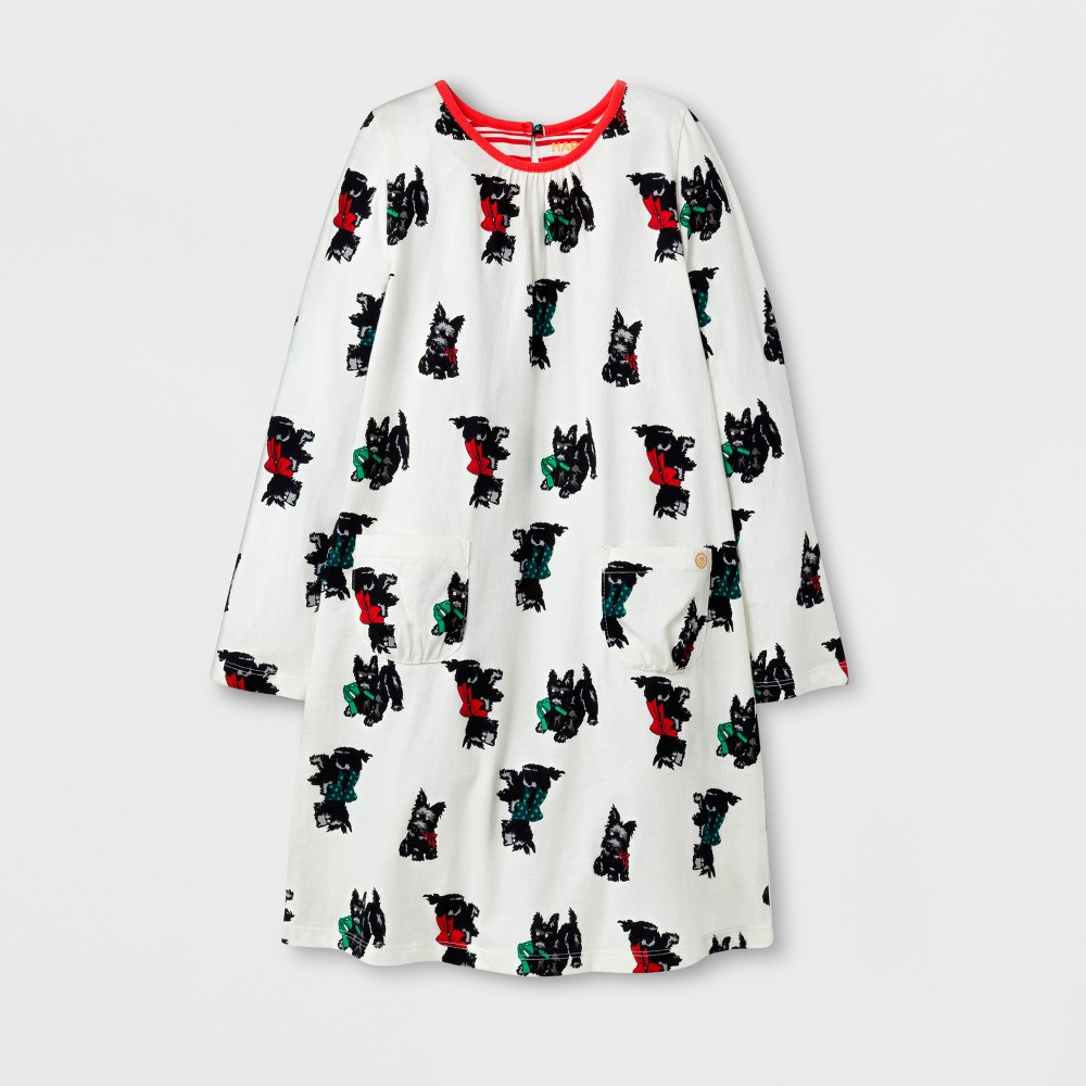 Happy by Pink Chicken Girls Scottish Terrier Knit A Line Dress - Cream 5, Beige