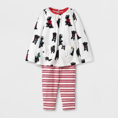 Happy by Pink Chicken® Baby Girls' Scottish Terrier Knit A Line Dress - Cream 6-12M