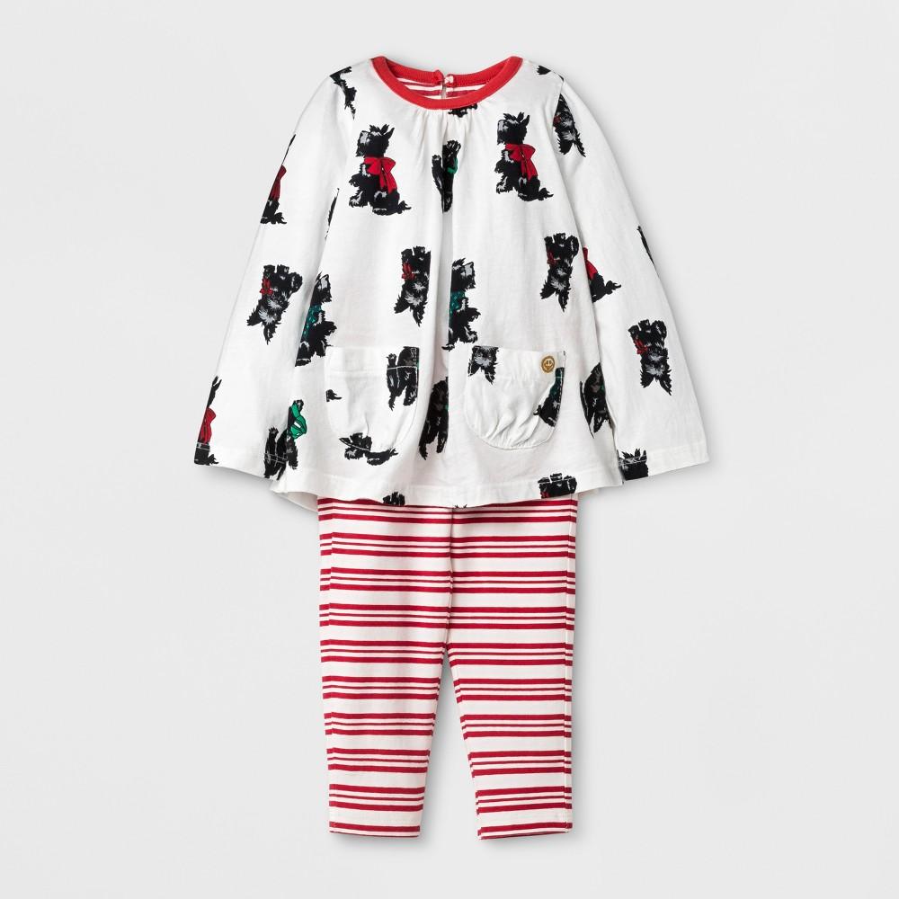 Happy by Pink Chicken Baby Girls Scottish Terrier Knit A Line Dress - Cream 6-12M, Size: 6-12 M, Beige