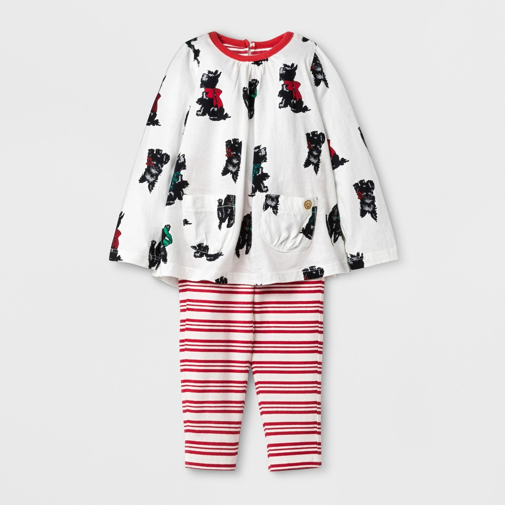 Happy by Pink Chicken Toddler Girls Scottish Terrier Knit A Line Dress - Cream 18-24M, Size: 18-24 M, Beige