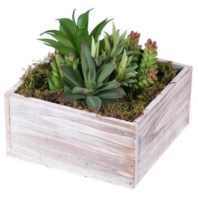 Artificial Succulent Arrangement in Wood Planter (7 )Green - Vickerman