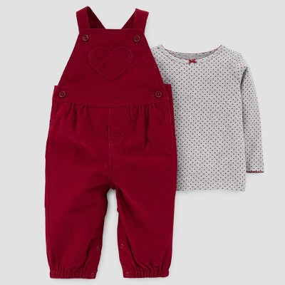 Baby Girls' 2pc Corduroy Overall and Long Sleeve T-Shirt Set - Just One You™ Made by Carter's® Red Heart NB