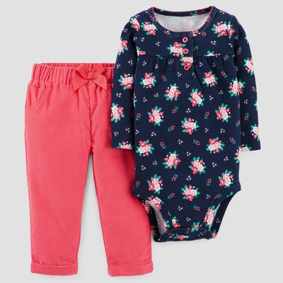 Baby Girls' 2pc Bodysuit and Pants Set - Just One You™ Made by Carter's® Blue Floral 9M