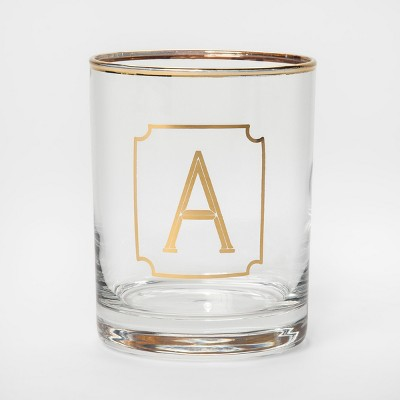 Monogram Double Old Fashioned Glass with Gold Rim 14oz - A - Threshold™
