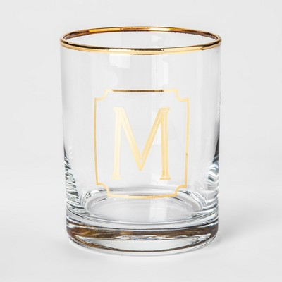 Monogram Double Old Fashioned Glass with Gold Rim 14oz - M - Threshold™