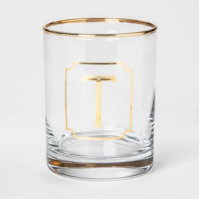 Monogram Double Old Fashioned Glass with Gold Rim 14oz - T - Threshold™