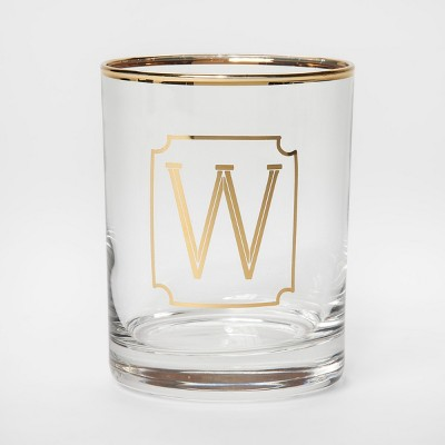 Monogram Double Old Fashioned Glass with Gold Rim 14oz - W - Threshold™