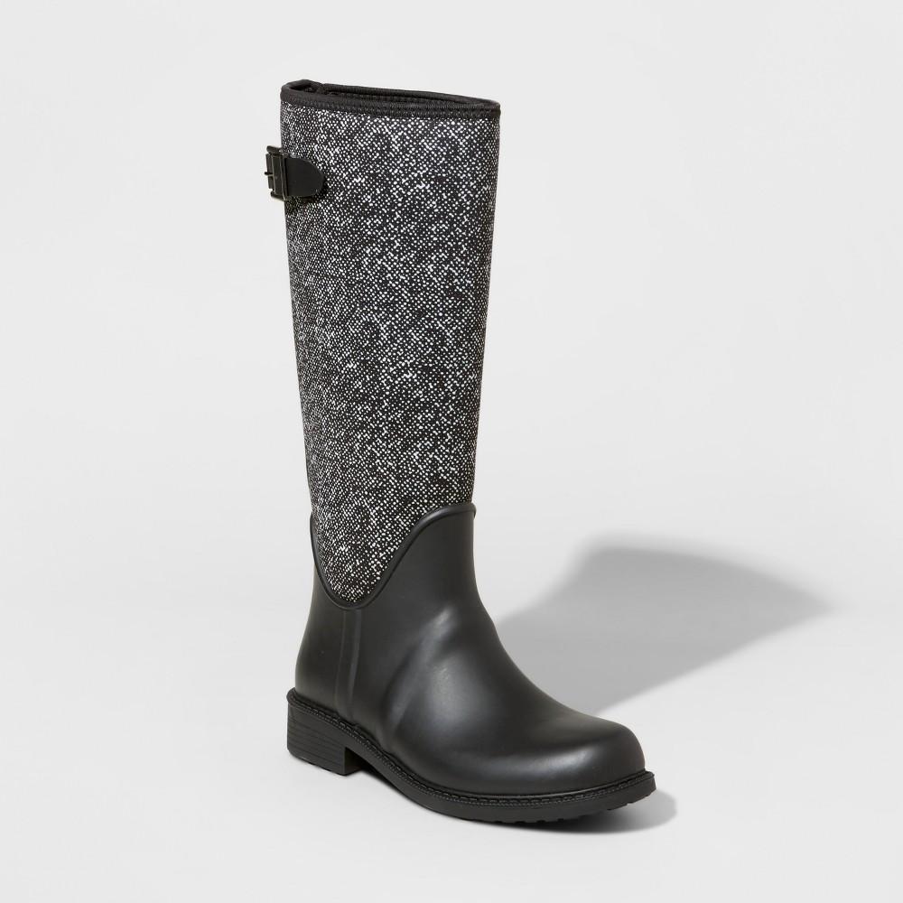 Womens Marita Tall Rain Boots 10 - Merona, Black