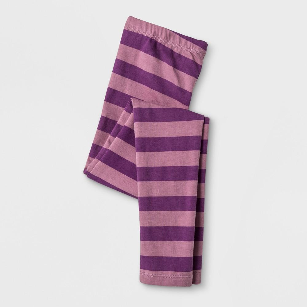 Happy by Pink Chicken Girls' Stripe Leggings - Purple 12