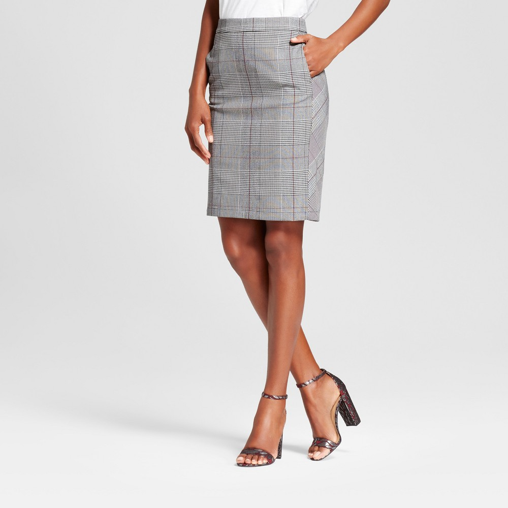 Womens Plaid Pencil Skirt - A New Day Gray 12