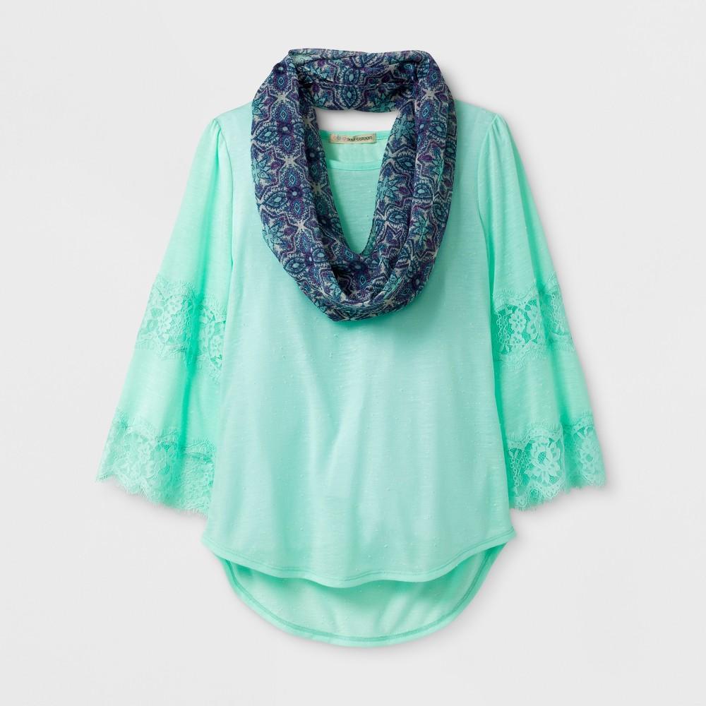 Girls Self Esteem Flare Lace Scarf Top - Blue M, Green