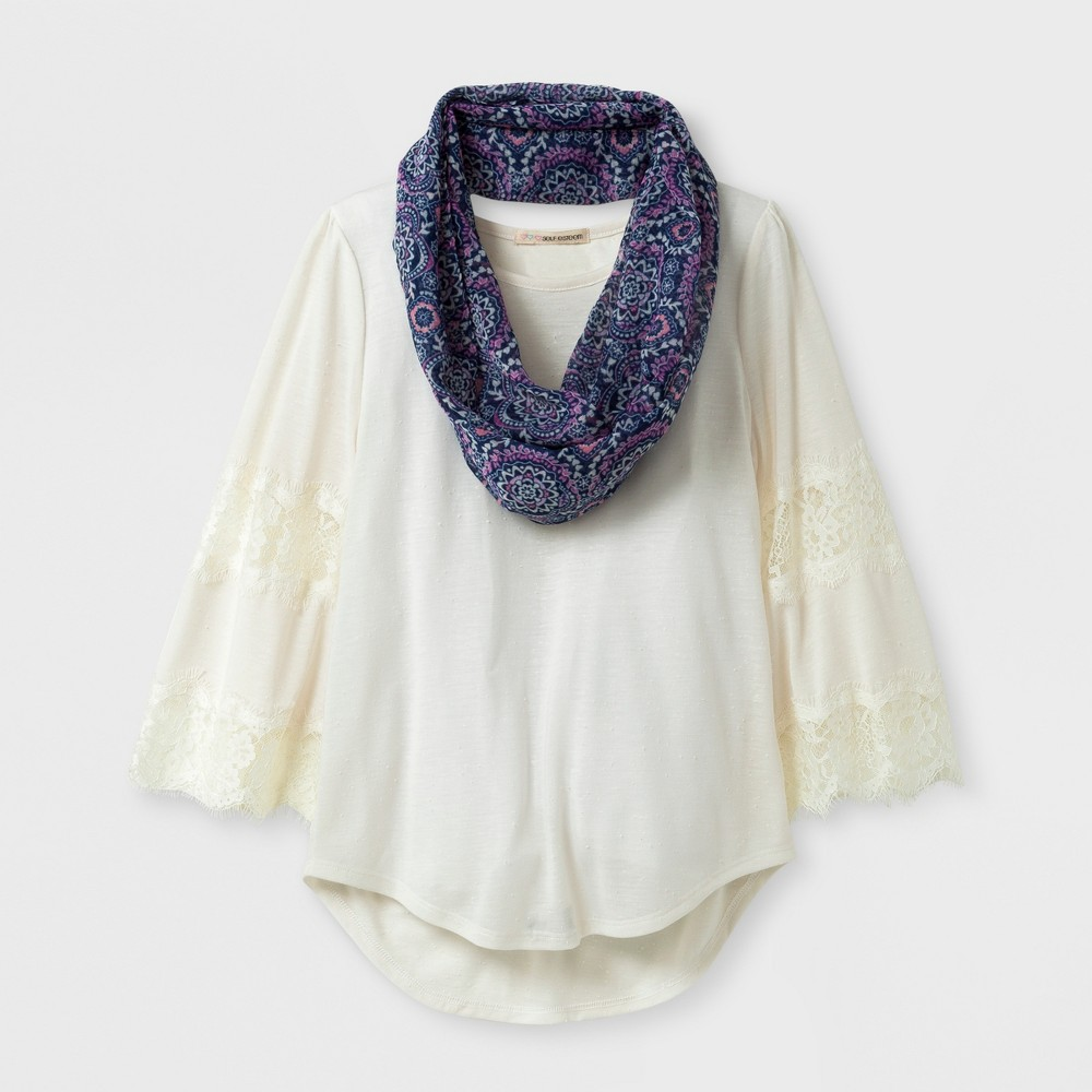 Girls Self Esteem Flare Lace Scarf Top - Neutral M, Beige