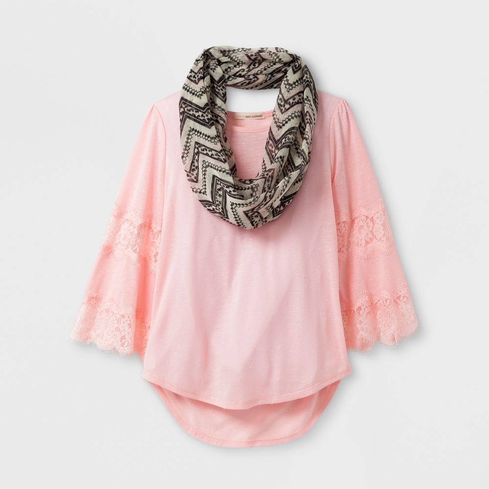 Girls Self Esteem Flare Lace Scarf Top - Pink L