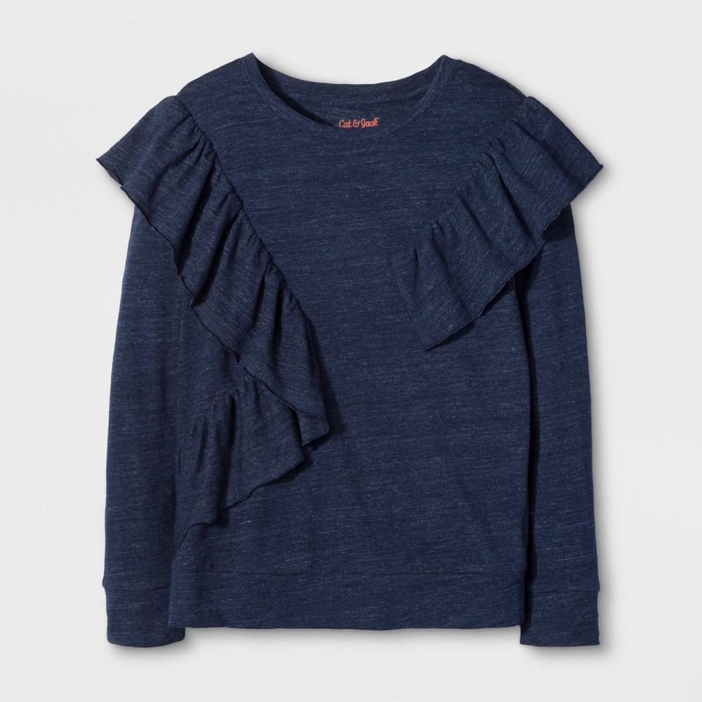 Girls Long Sleeve Ruffle Top - Cat & Jack Navy L, Blue