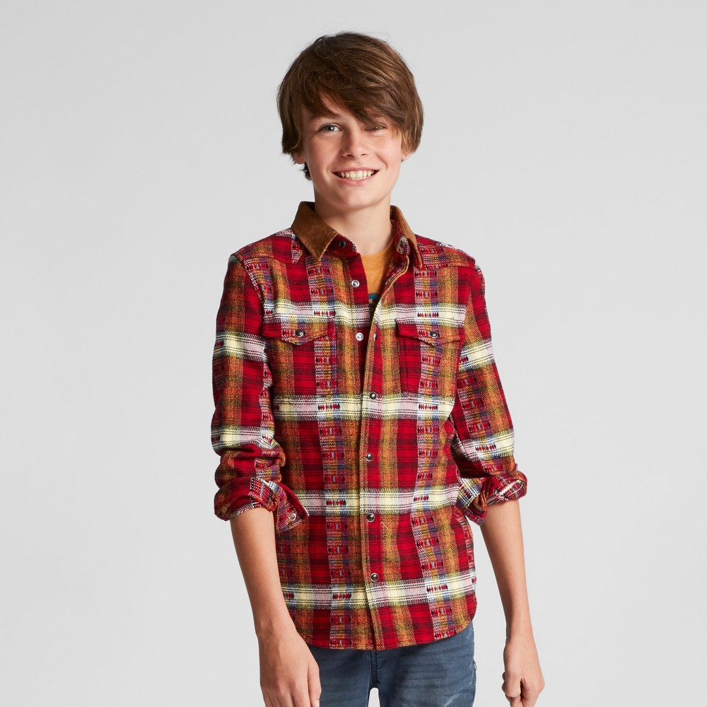 Boys Blanket Flannel Button Down Shirt - Art Class Red XL