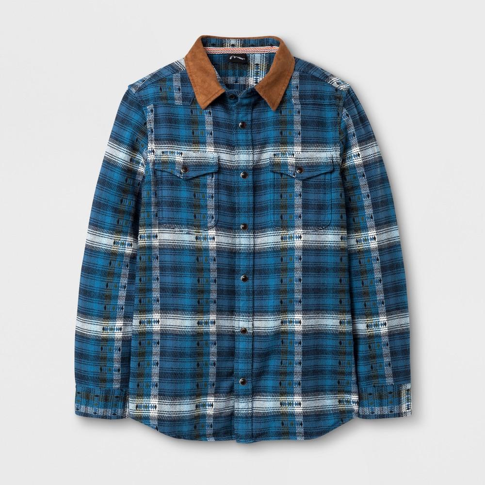 Boys Blanket Flannel Button Down Shirt - Art Class Blue L