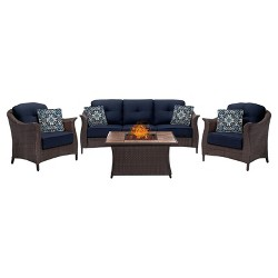 Gramercy 4pc All-Weather Wicker Patio Conversation Set w/ Fire Pit Table - Hanover