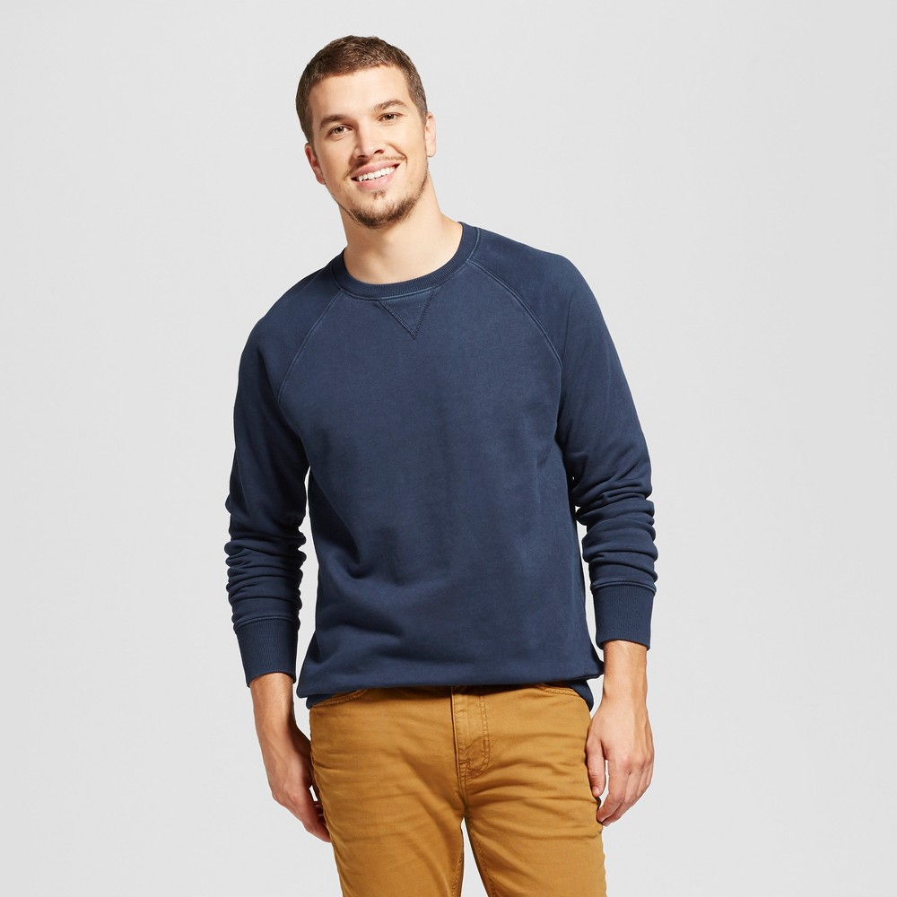 Mens Standard Fit French Terry Pullover Crew Sweatshirt - Goodfellow & Co Navy (Blue) M