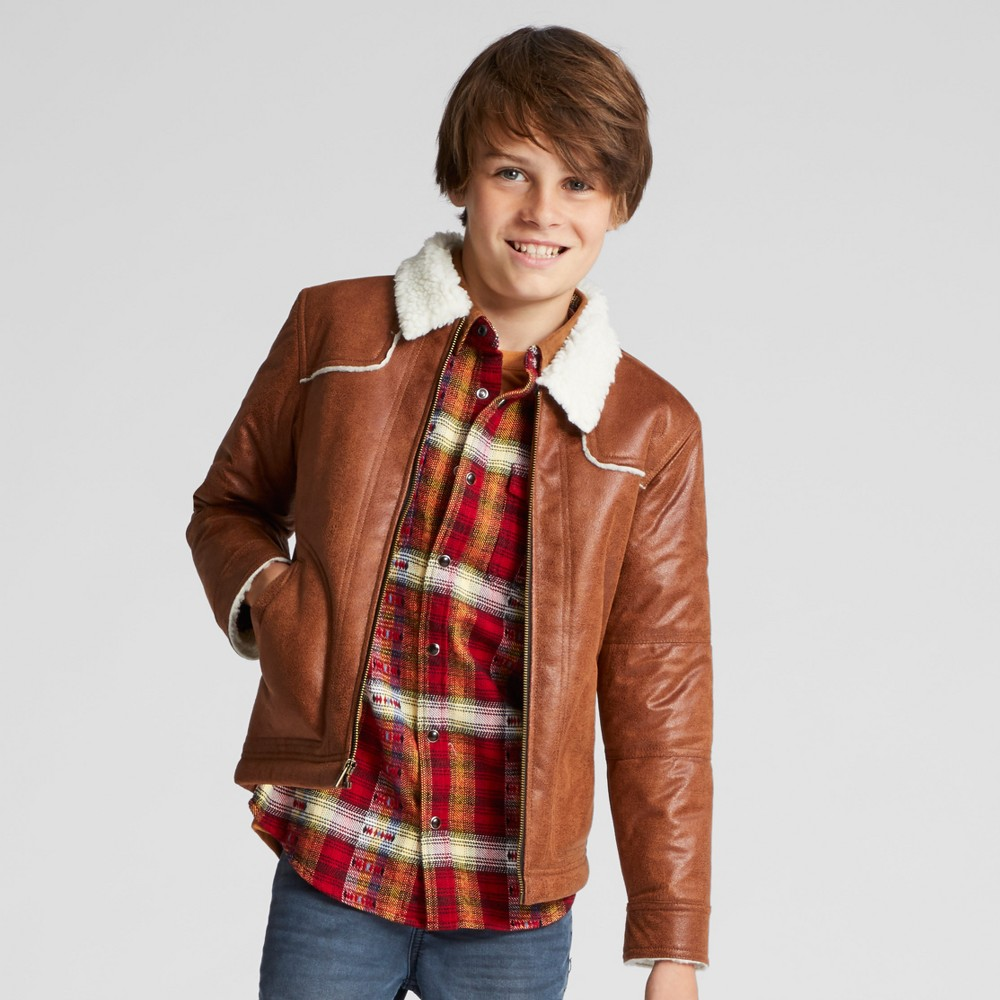 Boys Sherpa Lined Jacket - Art Class Brown S