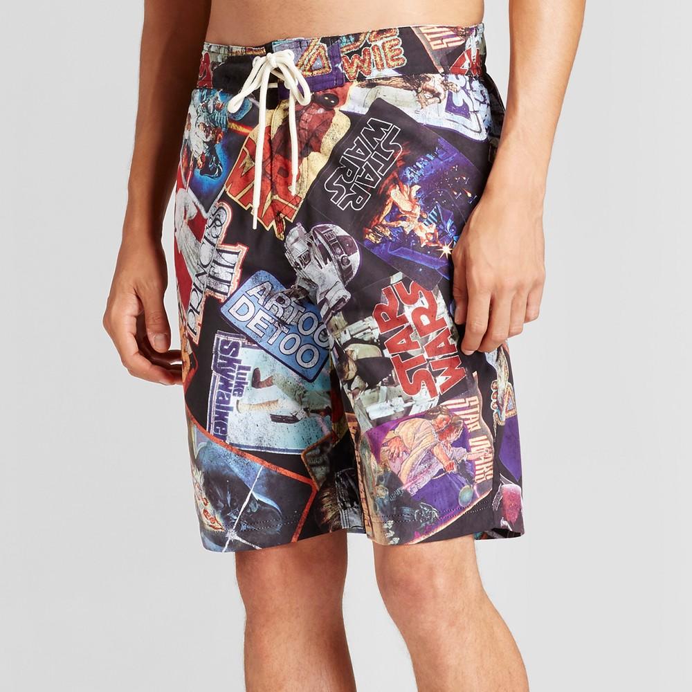 Mens Star Wars Card Pattern Board Shorts Black S