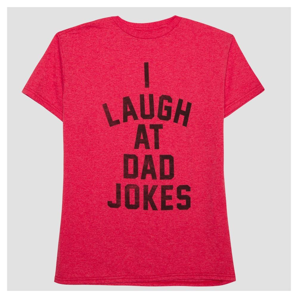 Mens I Laugh At Dad Jokes Short Sleeve T-Shirt - Red L