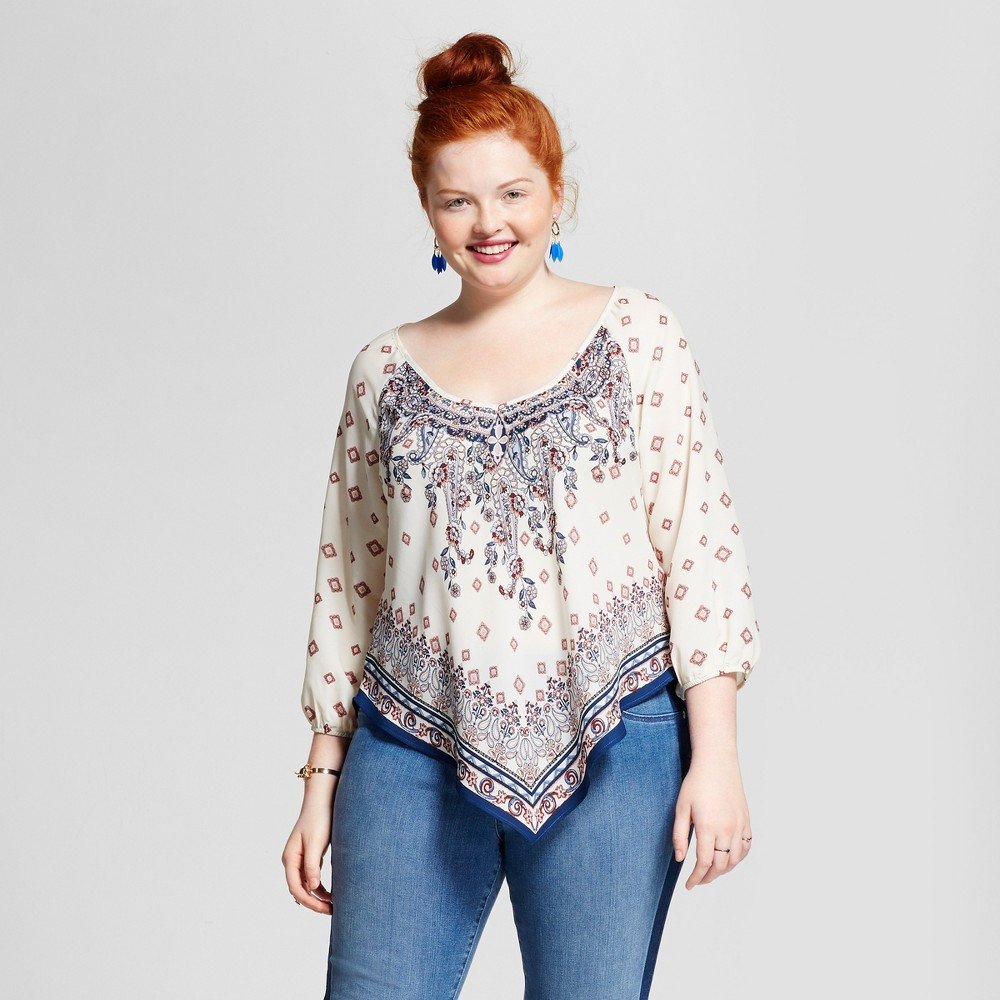 Womens Plus Size Hanky Hem Blouse -3Hearts (Juniors) - Ivory/Navy (Ivory/Blue) 1X