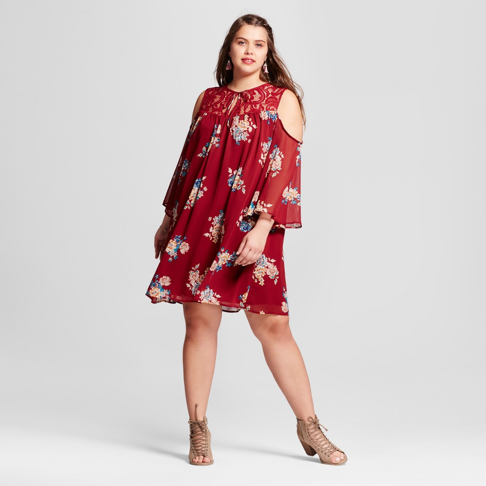 Womens Plus Size Floral Cold Shoulder Dress Rust/Gold/Teal 2X - 3Hearts (Juniors), Blue Red Gold