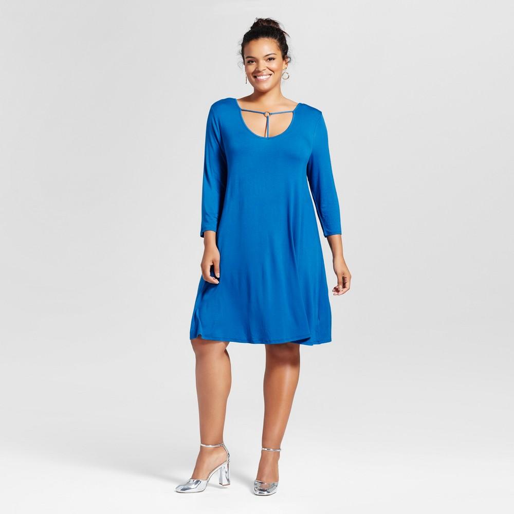 Womens Plus Size T-Back Dress Lapis 1X - 3Hearts (Juniors), Blue