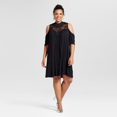 Women\'s Plus Size Cold Shoulder Lace Yoke Blouse Black - 3Hearts ...